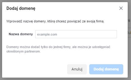 okno dodaj domenę